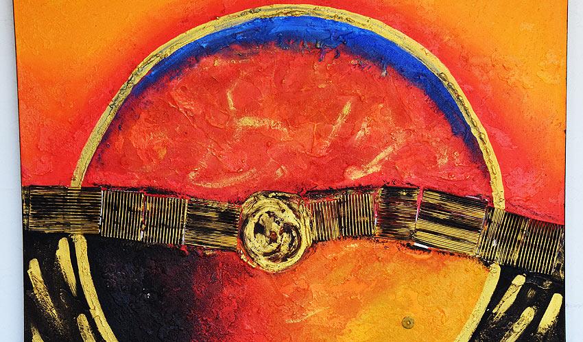 バリアート、絵画。太陽モチーフの抽象画