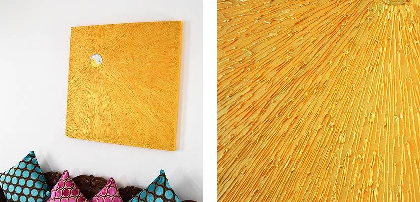 バリアート、黄金の光を放つ太陽のような抽象画