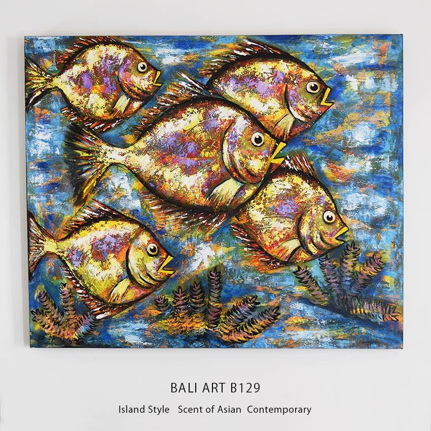バリアート、グランジテイストの魚の絵画