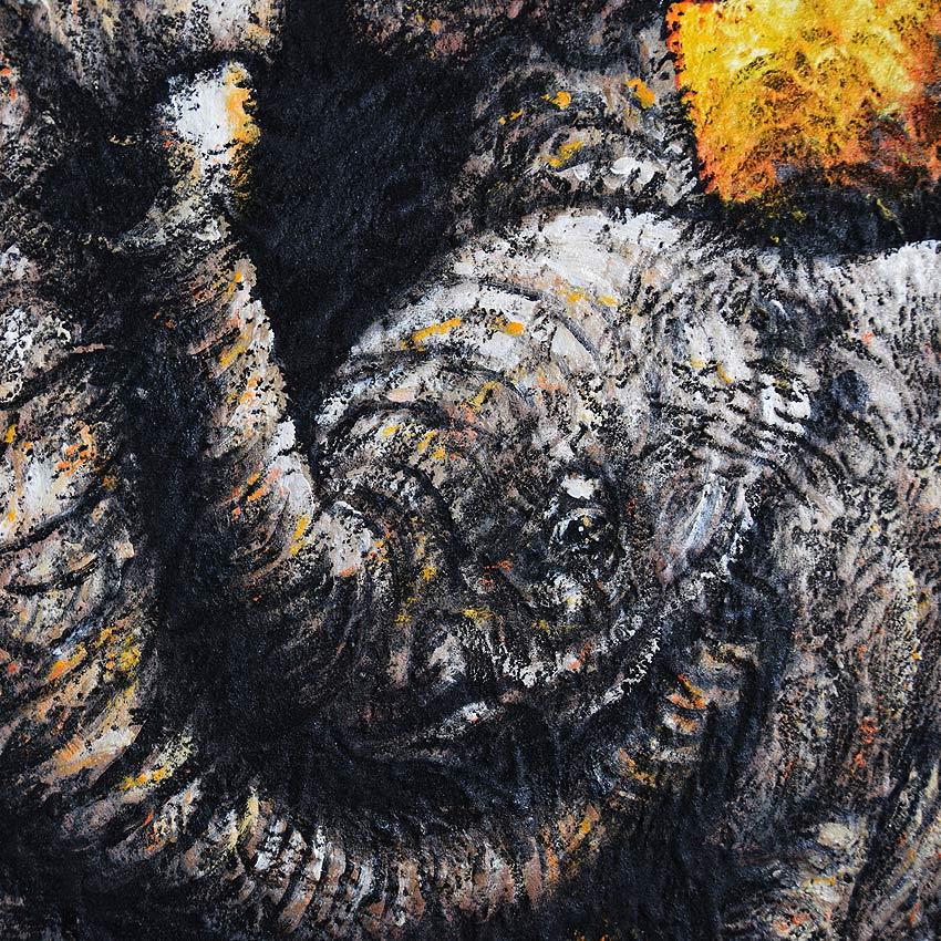 バリアート迫力あるゾウの親子の絵画