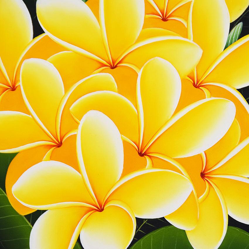 バリアート、黄色いプルメリアの絵画