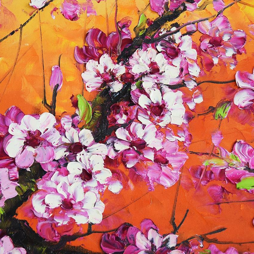 夕焼けに染まる桜の油絵
