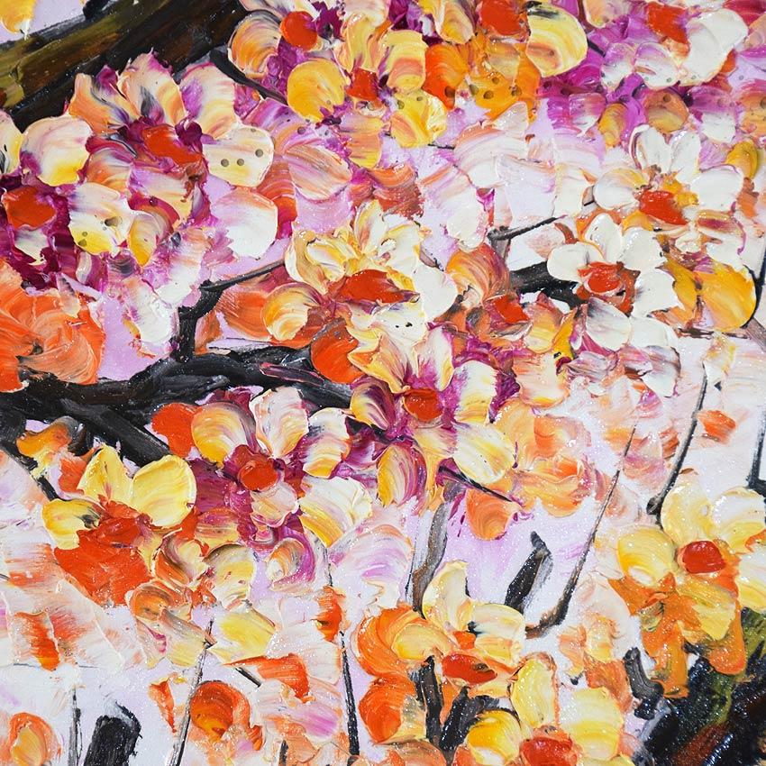 はじけるようなオレンジ色の桜の油絵
