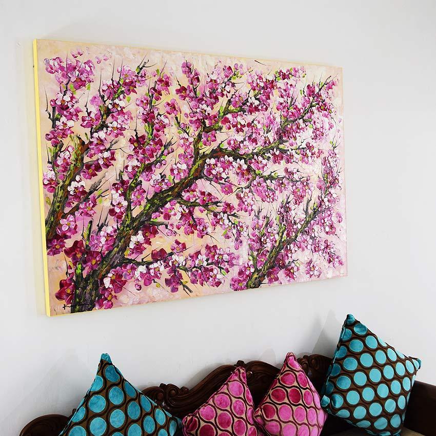 美しい紫の桜の油絵