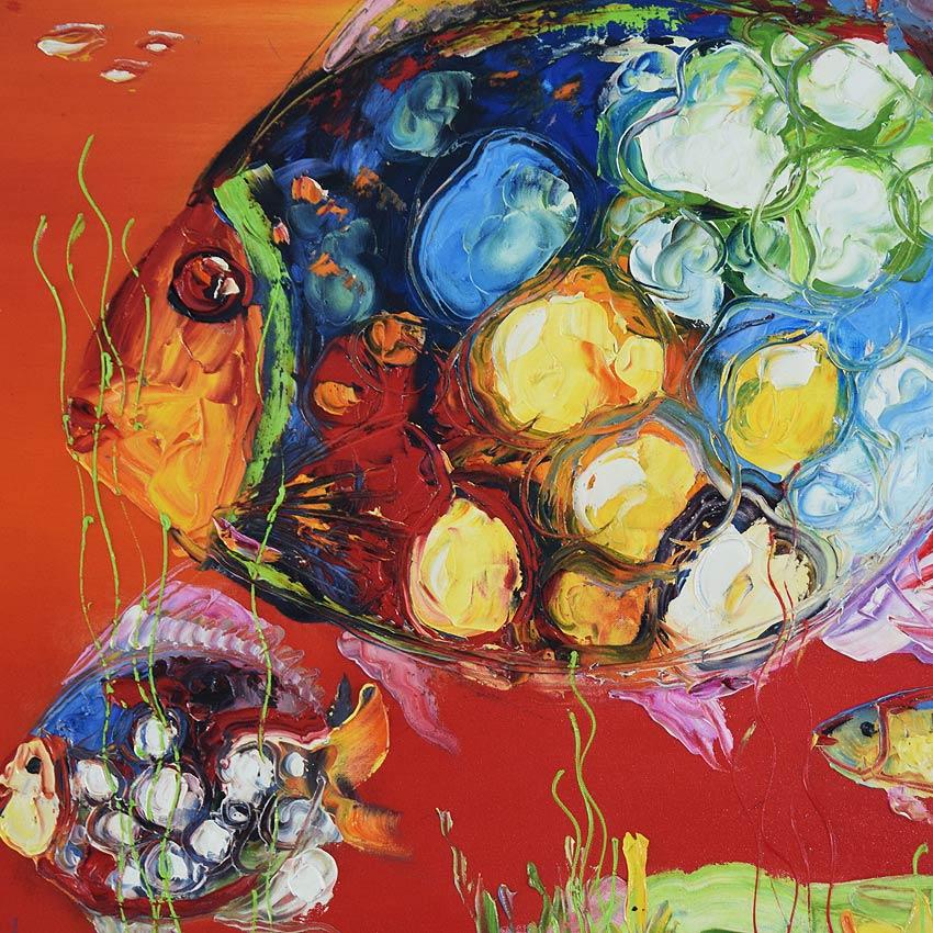 カラフルな魚の油絵