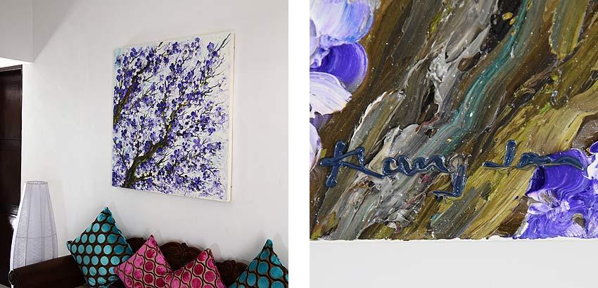 紫に染められた桜の油絵