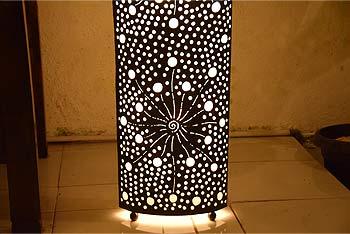 花火模様アイアン製ランプのアジアン照明