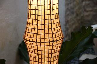 アジアン照明。ラタンとコットンのランプ。フロアスタンドライト ラティス