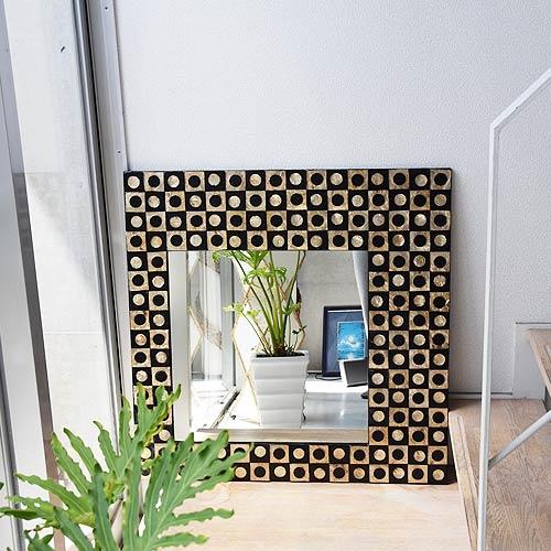 ミラー、洗面鏡、リゾートテイストのシェルの鏡